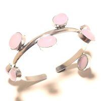 Free Postage Silver Overlay Rose Quartz Bangel Cuff Handmade Jewelry