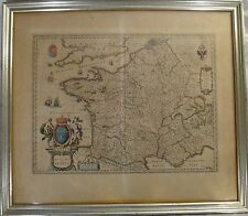 Original Old World map - Kingdom of France, Mid- 17th c. W. & J. Blaeu, 23 x 19�