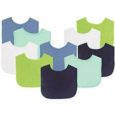 """Luvable Friends Baby Bibs Value Pack, Navy/Lime, 6 X 7.5"""", 10 Count (Colors May"""