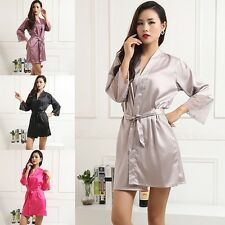 Ladies Fashion Silk Satin Long Robes Gown Nightwear Pajama Night Dress Sleepwear