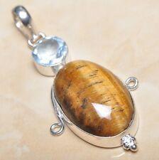 "Handmade Golden Tiger's Eye Gemstone 925 Sterling Silver Pendant 2.5"" #P03643"