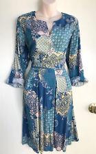 REGATTA Patchwork Print Viscose Roll Longsleeves Tab Button Pleat Dress 14 NWT