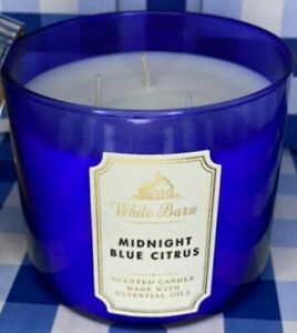 Bath & Body Works MidNight Blue Citrus 3-Wick Candle Large 14.5 Oz Made With...