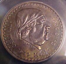 Rare Mexico 1949Mo Silver Morelos Mexican Peso Coin Certified ANACS AU58 DETAILS