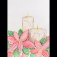 Maria Scalf Candle Poinsettia ORIGINAL PAINTING Watercolor 9x12 Holiday Flower