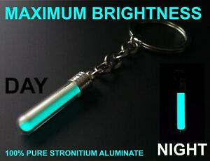 BRIGHTEST BLUE Glow In The Dark Keyring Money Can Buy! Pure Strontium Aluminate