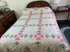 Vintage Folk Art Applique Quilt Top Coverlet Bedspread Pink Green Flowers