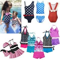 Girls Kid Polka Dots Tankini Swimwear Swimsuit Swimming Costume Bathing Suit Set