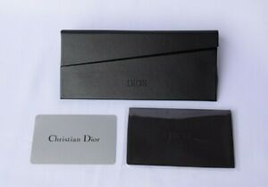 DIOR Leather Sunglass Case in Black w. Cleaning Cloth & Authenticity Card
