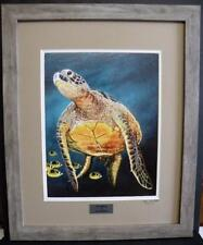 Sea Turtle Ocean Seascape Framed Limited Edition Fine Art Print - Painting by JG