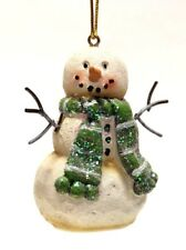 """2.7"""" HAND PAINTED RESIN SNOWMAN CHRISTMAS HOLIDAY ORNAMENT STYLE 4"""
