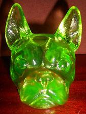 Green Vaseline uranium glass french bulldog frenchie / Boston terrier dog yellow