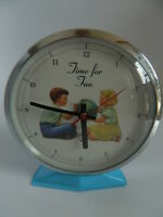 """Vintage Wind Up Dick and Jane  """"Time for Fun"""" Metal Blue Clock 5 14"""" - Working"""