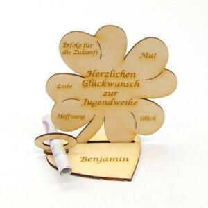 Geschenk zur Jugendweihe Personalisiert Geldgeschenk Holz 11cm Kleeblatt Gravur