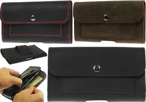 HANDCRAFTED LEATHER WAIST POUCH CASE COVER WITH 2 CARD POCKETS FOR MOBILE PHONES