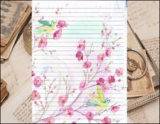 Birds & Flowers Design Lined Stationery Set 25 sheets & 10 envelopes 8.5 X 11