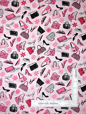 Purse Shoe Toss Fabric Black Pink Flower Toss Work Those Pumps CP41096 - 1.75 Yd