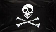 Pirate Jolly Roger Skull Crossbones 3x5 3'x5' Embroidered Flag 2 double sided