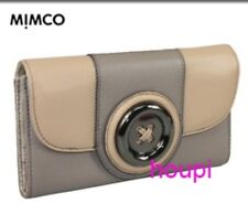 Mimco Leather Lustre Button Clutch Wallet in Coffee and Tan - Brand New