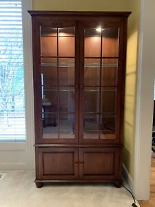 Ethan Allen Curio Cabinet / China Hutch - Solid Cherry #275 American Dimensions