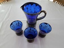 Blue Glass W/ Silver Deposit Overlay Pitcher & 3 Glass Set In Victorian Style.