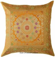 "Orange 17"" Mandala Cushion Pillow Cover Silk Brocade Throw Indian Ethnic Decor"