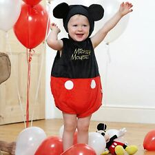 Baby Disney Mickey Mouse Costume Bodysuit Girls Boys Kids Fancy Dress 12-18 Mnth
