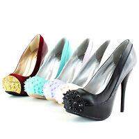 Women Sexy Party Spike Metal Round Toe Platform High Heel Stilettos Pump Shoes