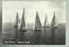 vecchia cartolina  di igea marina armonia di vele barca a vela