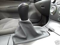 FITS MAZDA 6 GREY SHIFT BOOT GENUINE LEATHER NEW