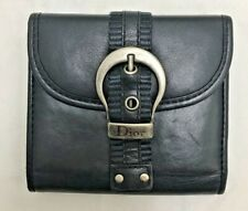 auth vintage Christian Dior lambskin black leather belt cash card bifold wallet