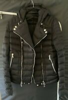 Balmain Biker Hooded Puffer Down Jacket Motorcycle Black SIze L EU 50 US M