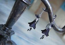 Boucles d'oreilles noir gothique elfe dark mori vampir fleurs noirs strega