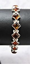 BALTIC AMBER-BRACELET STG SIL (925) WITH BOX CATCH & S/CHAIN-12.5gr.-19cm 7x7mm