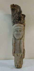 Antique Driftwood Carving of a Woman's Profile w/Jeweled Eyes Early American
