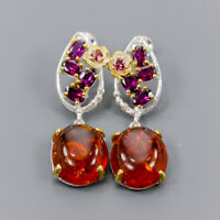 Amber Earrings Silver 925 Sterling Jewelry Handmade SET  /E44426