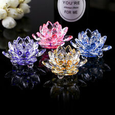 Crystal Glass Flower Candle Tea Light Holder Buddhist Candlestick HiOlX sen13