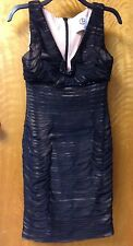 NEW JS Collections V-neck Beaded Sleeveless Dress in Black/Nude Mesh size 6P