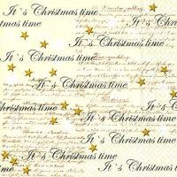 *Weihnachten*20 Servietten*weiß&gold Sterne*It´s Christmas time*
