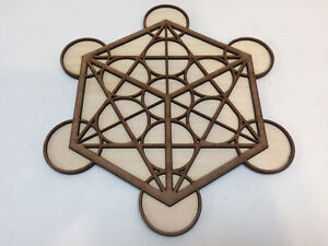 Deluxe Metatron's Cube Dual Layered Wooden Crystal Grid Plate Sacred Geometry