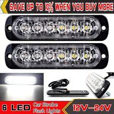 2X12/24V White Recovery Strobe 6led Flashing Lights Cree Breakdown Lamp Grill *