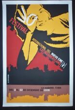 2008 LATIN AMERICAN FILM FESTIVAL / Original Cuban Silkscreen Poster HAVANA CUBA