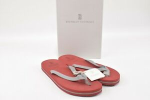 Brunello Cucinelli NWB Thong Flip Flop Sandals Size 44 11 US In Red & Gray