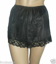 Black Satin French Knickers Deep Lace Trim Size 10/12 True Vintage Style New