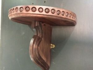 GOTHIC OAK WALL SCONCE/ SHELF, THICK RECLAIMED OAK, CARVED DETAIL.