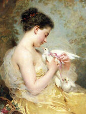 Art Oil painting Chaplin Charles girl portrait A Beauty with Doves Hand painted