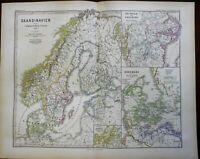 Medieval Scandinavia Denmark Norway Sweden Nidaros 1875 Spruner detailed map
