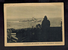 1942 Real Picture Postcard Germany Navy Kriegsmarine Torpedoboat at Sea WW 2