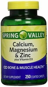 SPRING VALLEY CALCIUM, MAGNESIUM, AND ZINC WITH D3 COATED CAPLETS 250ct