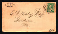 US 1888 Bath ME Cover / Noted Bank Note Worn Plate - Z18563